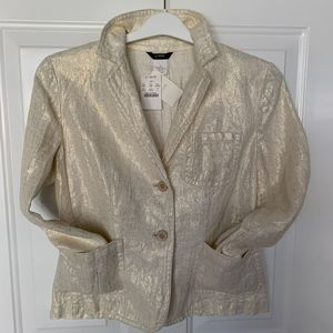 NWT J. Crew Casa Rossa Metallic Linen Jacket